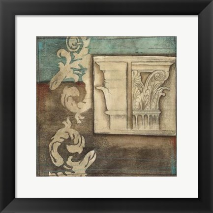 Framed Damask Tapestry with Capital II Print