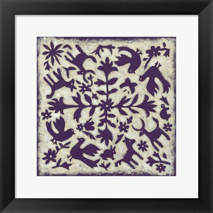Framed Folk Story in Purple Print