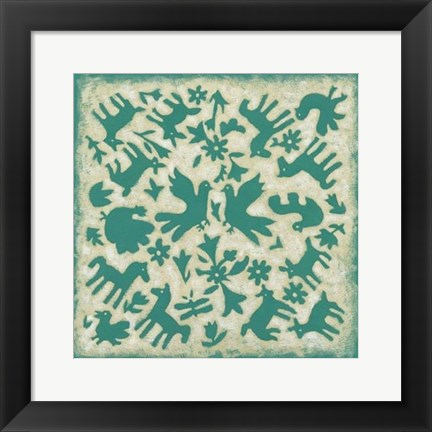 Framed Folk Story in Jade Print