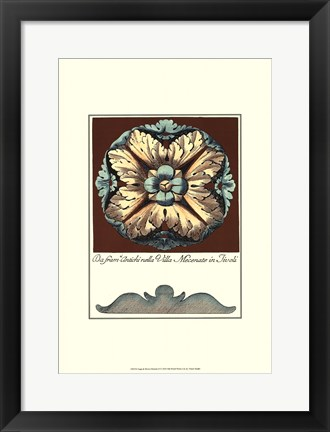 Framed Aqua & Brown Rosette II Print
