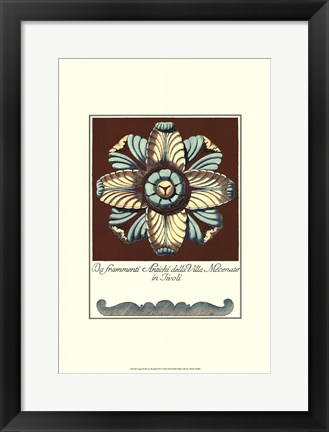 Framed Aqua & Brown Rosette III Print