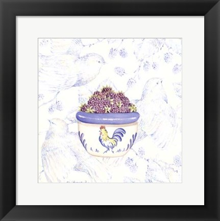Framed Toile & Berries II Print