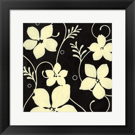 Framed Black with Cream Flowers Print
