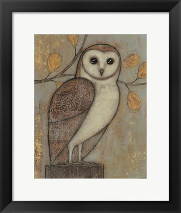 Framed Ornate Owl I Print