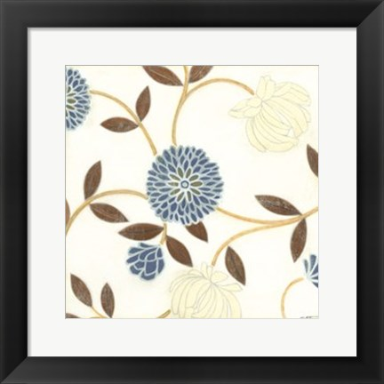 Framed Blue and Cream Flowers on Silk I Print