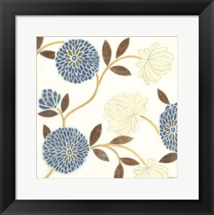 Framed Blue and Cream Flowers on Silk II Print