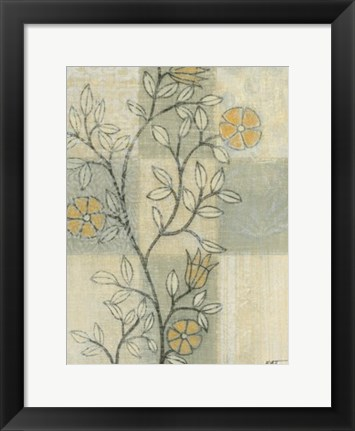 Framed Neutral Linen Blossoms II Print