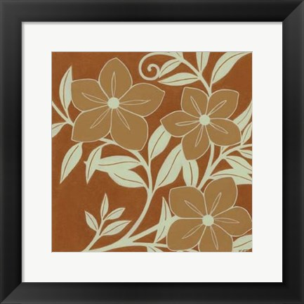 Framed Tan Flowers with Mint Leaves I Print