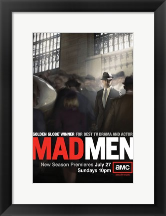 Framed Mad Men - man in crowd Print