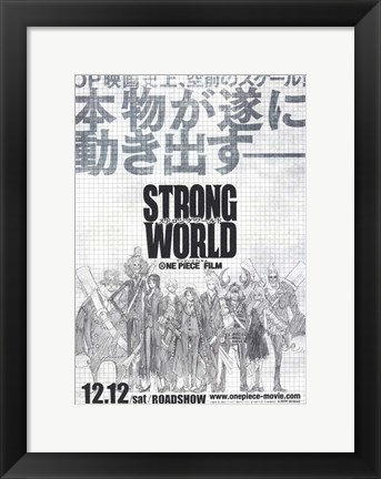 Framed One Piece Film: Strong World - black and white Print