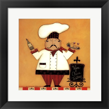 Framed Chef with Wine and Cheese Print