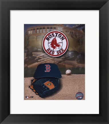 Framed Boston Red Sox Logo and Cap Print