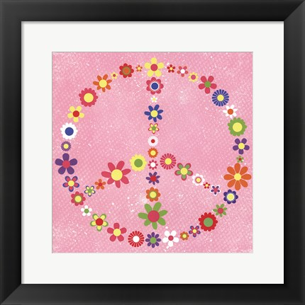 Framed Peace Flowers II Print