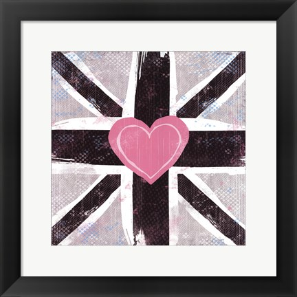 Framed Union Jack Heart I Print