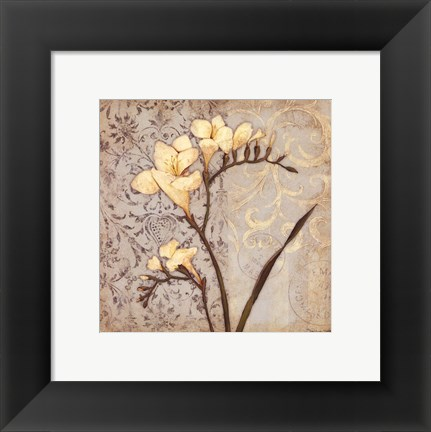 Framed White Freesia Print