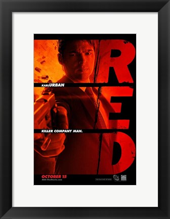 Framed Red Karl Urban Print