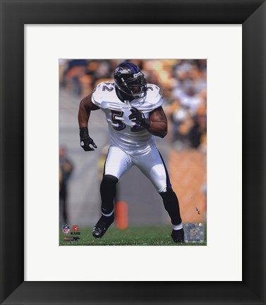 Framed Ray Lewis 2010 Action On The Run Print
