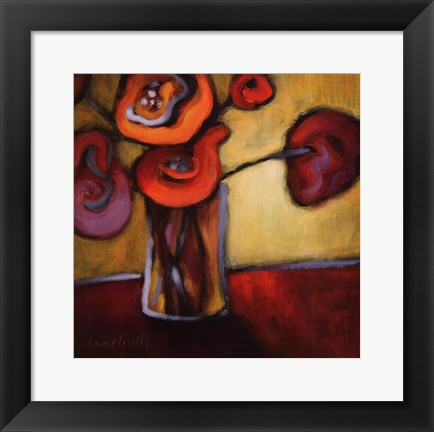 Framed Red Poppies in a Vase (full) Print
