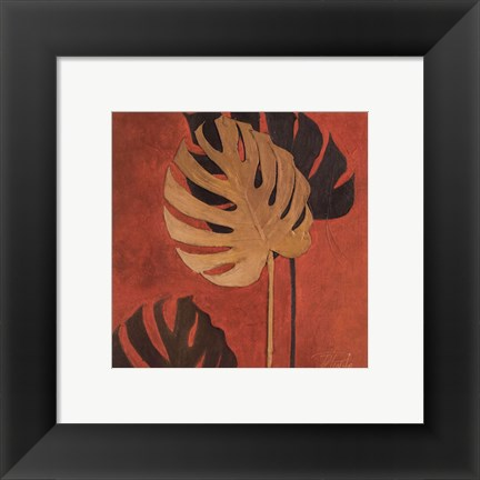 Framed My Fashion Leaves on Red I Print