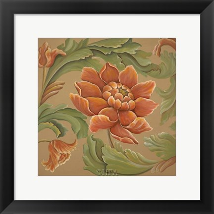 Framed Baroque Flower I Print