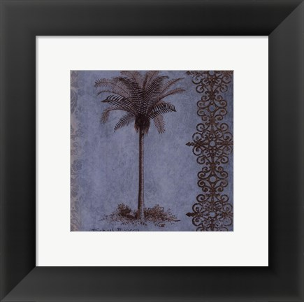Framed Palm on Blue II Print