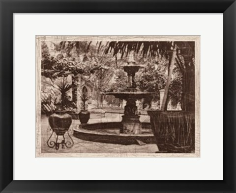 Framed Patio Fountain in Seville Print