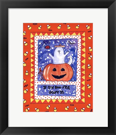 Framed Halloween Ghost Orange Print
