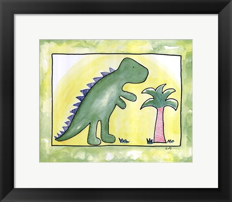 Framed Lil Green Dino Print