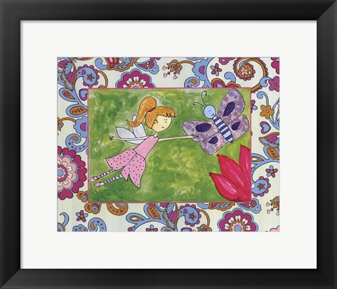 Framed Kitty with Butterfly Print