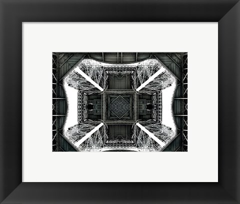 Framed View of the Eiffel Tower from below Print