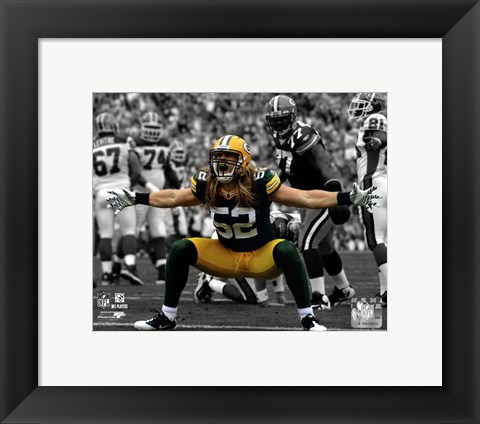 Framed Clay Matthews 2010 Spotlight Action Print
