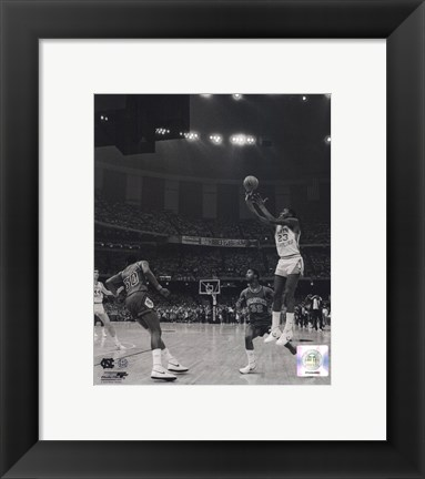 Framed Michael Jordan University of North Carolina Game winning basket in the 1982 NCAA Finals against Georgetown Vertical Action Print