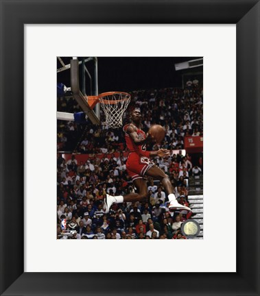 Framed Michael Jordan 1987 Slam Dunk Contest Print