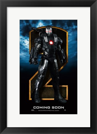 Framed Iron Man 2 Gray Armor Close Up Print
