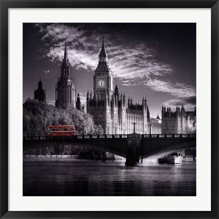 Framed London Bus IV Print