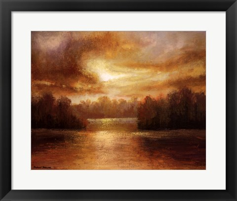Framed Golden Lake Glow II Print