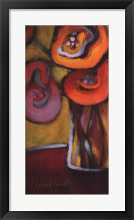 Framed Red Poppies in a Vase Print