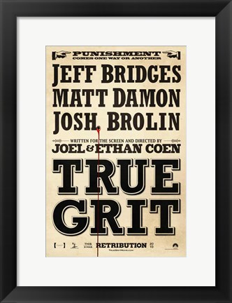 Framed True Grit Bridges Damon Brolin Print