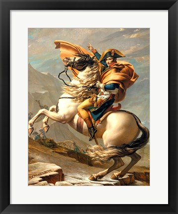Framed Napoleon (1769-1821) Crossing the Alps at the St Bernard Pass Print