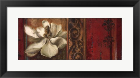 Framed Red Eclecticism with Magnolia Print