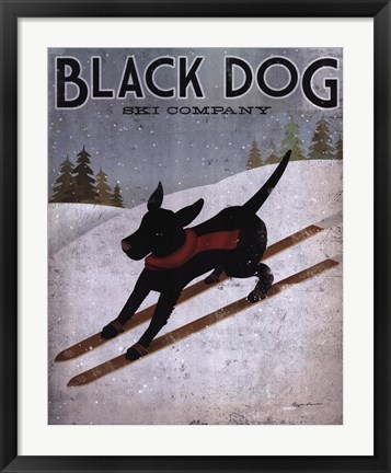 Framed Black Dog Ski Print