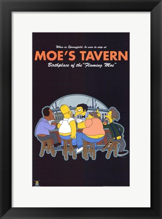 Framed Simpsons Moe's Tavern Print