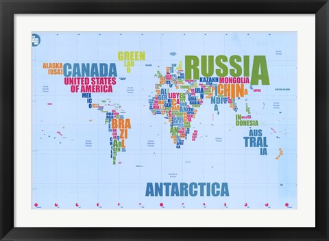Framed World Map – In Words Print