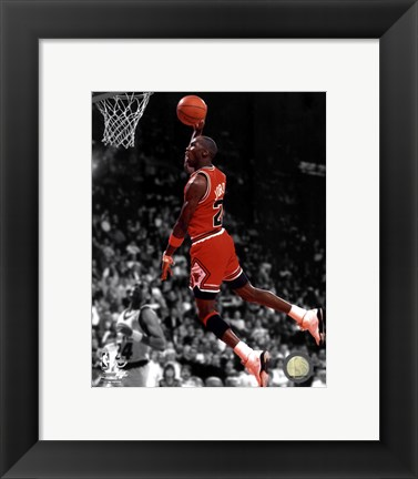 Framed Michael Jordan 1990 Spotlight Action Print