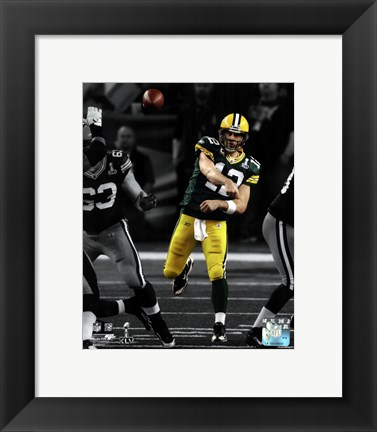 Framed Aaron Rodgers Spotlight Action from Super Bowl XLV Print