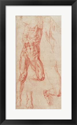 Framed W.13r Study of a male nude, stretching upwards Print