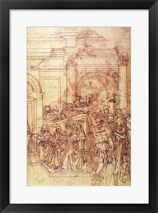 Framed W.29 Sketch of a crowd for a classical scene Print