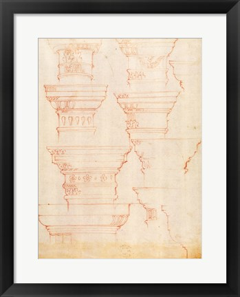 Framed W.18v Study of column capitals Print