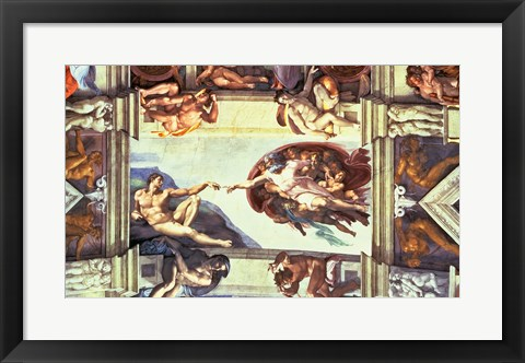 Framed Sistine Chapel Ceiling: Creation of Adam, 1510 Print