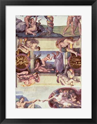 Framed Sistine Chapel Ceiling (1508-12): The Creation of Eve, 1510 Print
